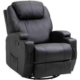 -426€90 sur Fauteuil de massage relaxation électrique chauffant inclinable  pivotant 360° avec repose-pied ajustable simili cuir noir - Achat   prix    fnac 46c4750b3209