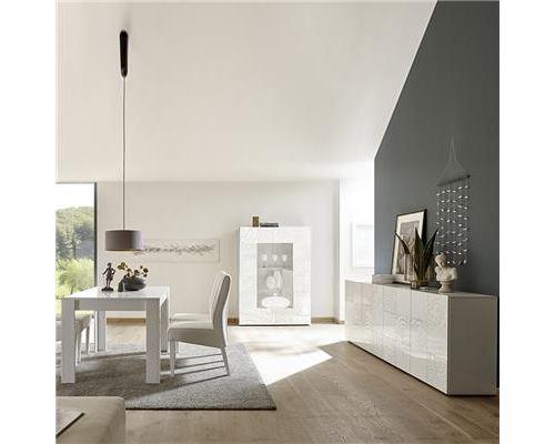 Salle à manger enfilade 4 portes et table 180 blanc laqué design ELMA - L 180 x P 90 x H 79 cm