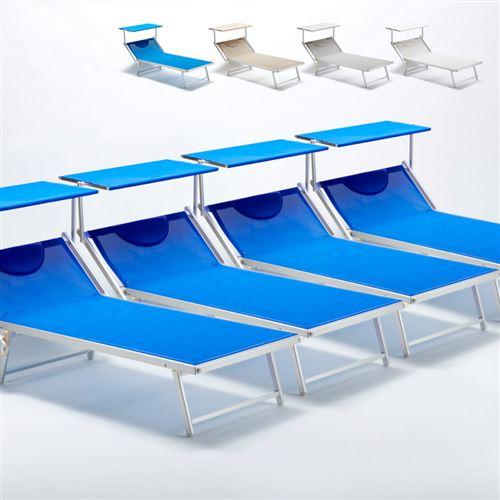 Beach and Garden Design - 4 Bain de soleil transat taille maxi professionnels aluminium lits de plage GRANDE Italia Extralarge, Couleur: Bleu