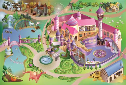 House Of Kids - Tapis de jeu intérieur Princesse 150x100cm