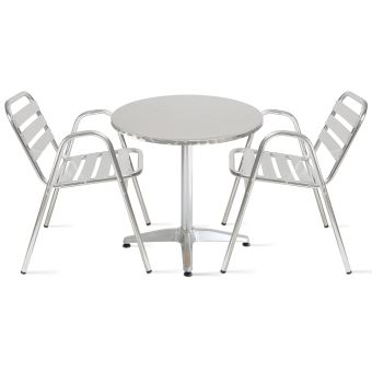 Table de jardin ronde en aluminium 2 places - Gris ...