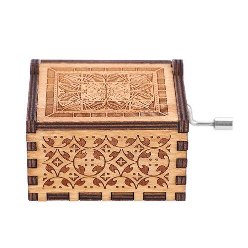 Boîte à musique à manivelle en bois mécanique # Harry Potter