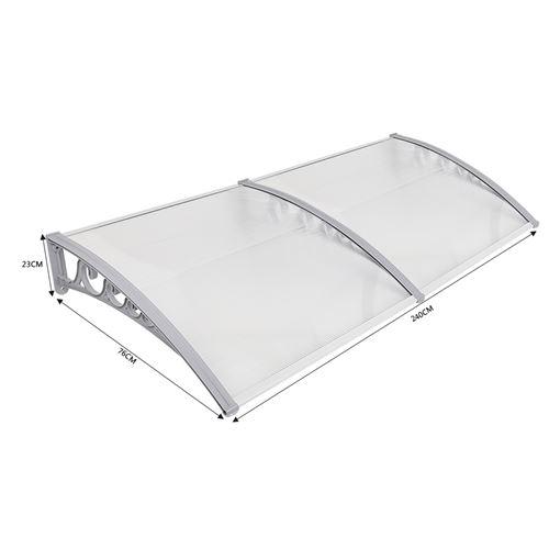 Marquise Auvent de porte d'accueil solaire blanc 80x240 cm