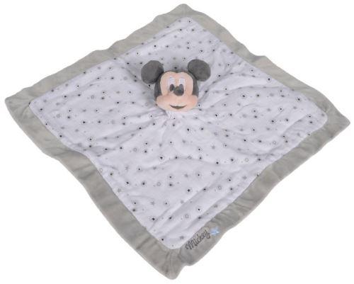 Mickey grand doudou plat lange blanc et gris 39 x 39 cm - peluche disney souris pour enfant et bebe - naissance