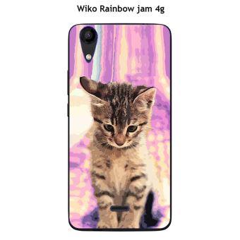 Coque Wiko Rainbow Jam 4G design Chat tigré fond rose