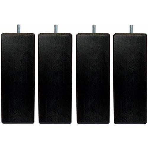 Jeu de pieds carres L 6 x l 6 x H 24,5 cm Noir - Lot de 4