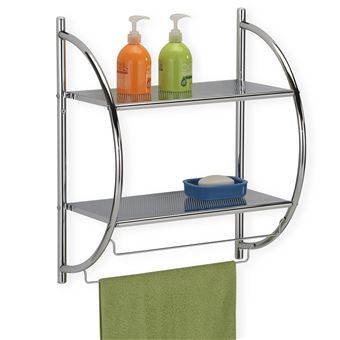 Etagère de salle de bain murale JANINE meuble de rangement à fixer avec 2  tablettes et 2 barreaux porte-serviettes, en métal chromé