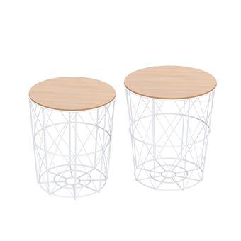 Lot de 2 tables basses gigognes tables d\'appoint rondes encastrables style  néo-rétro bicolore structure métal blanc plateau MDF coloris hêtre