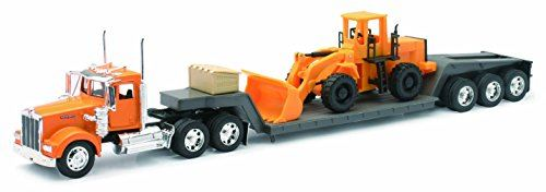 New Ray 10623 Kenworth W900 Lowboy With Construction Tractor