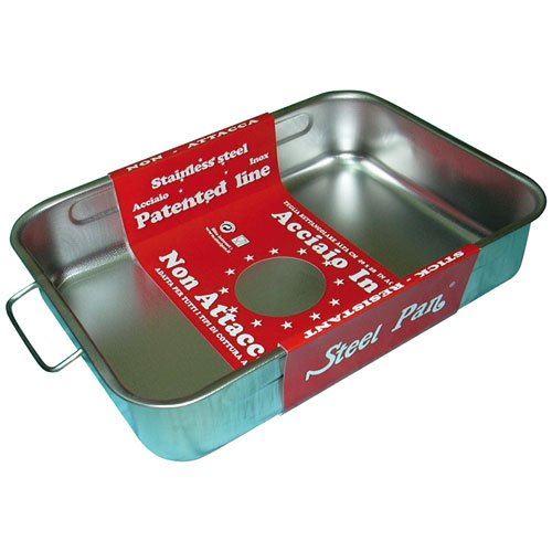STEEL PAN SP11163 PLAT RECTANGULAIRE INOX 40cm, Acier Inoxydable, ARGENT, 40 x 28 x 8 cm