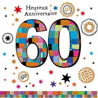 Carte Postale Anniversaire 60 Ans 2 Volets Avec Enveloppe Carte De Vœux Achat Prix Fnac