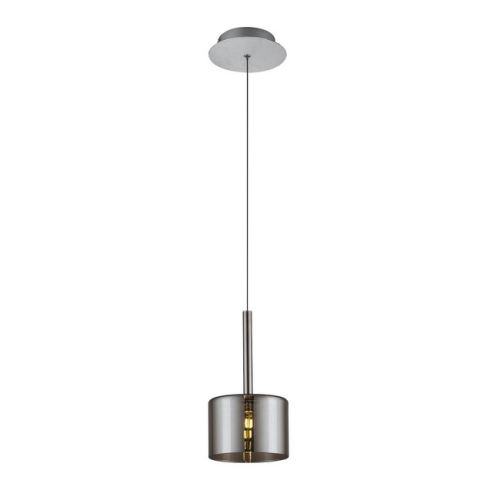 HOMEMANIA Lampe à Suspension Bibu Chandelier - à Cylindre - de Plafond - Chrome, Gris en Verre, 14 x 14 x 120 cm, 1 x G4 Led , 20W