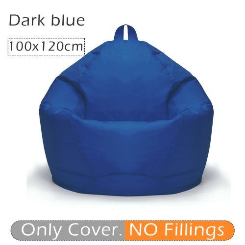 100 * 120 cm 10 couleurs élégant flanelle bean bag housse de canapé bleu marin