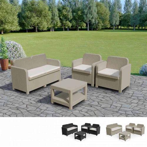 Salon de jardin Grand Soleil SORRENTO en Poly rotin table basse fauteuils pour exterieur 4 places, Couleur: Beige