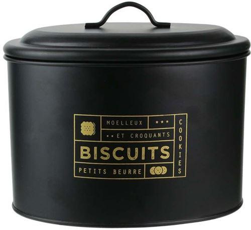 La Boite A - Boite à biscuits en métal noir mat Nora