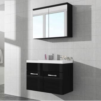 Meuble de salle de bain Paso 02 80x40cm lavabo Noir brillant – Armoire de  rangement mirroir armoire miroir