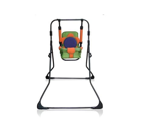 Balancelle berceau transat chaise haute 12m+ bébé enfant - Samba Plus 4en1   Orange et Verte / Cadre noir
