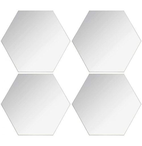 Lot de 4 Miroirs Adhésifs Hexagone 20x20cm Argent