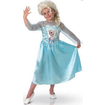 Deguisement Luxe Reine Des Neiges Elsa Perruque 5 6 Ans Costume Disney Enfant Fille Carnaval Deguisement Enfant Achat Prix Fnac