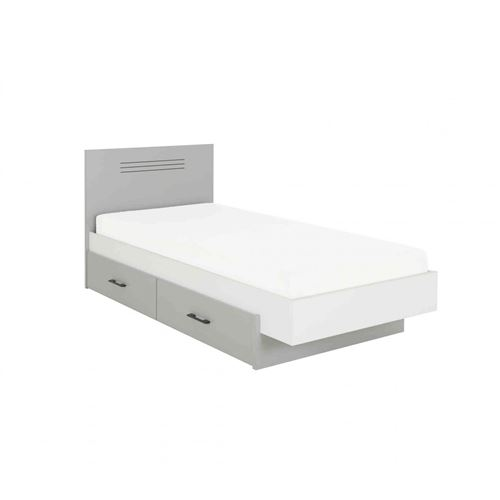 Lit enfant en bois gris et blanc 120x190 tiroir de lit 190 - LT5025