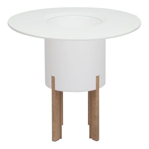 KIT Mediterraneo 75RB: Jardinière modulaire ronde blanche 75h pieds aluminium couleur bois + table ronde blanche