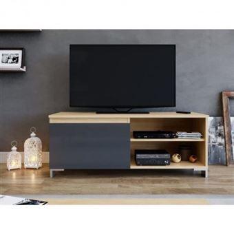 acheter populaire fd725 637ab Manhattan meuble tv contemporain laminé chene clair et mélaminé gris  anthracite - l 110 cm