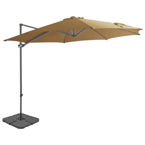 vidaXL Parasol avec base portable Taupe