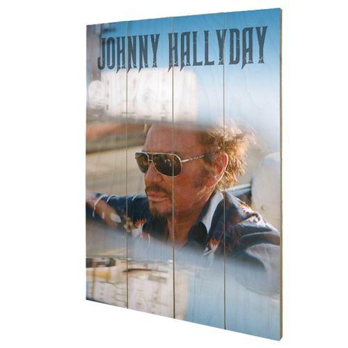 Plaque décorative Drive en bois Johnny Hallyday