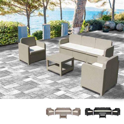 Salon de jardin Grand Soleil POSITANO en Poly-rotin Canapé table basse fauteuils 5 places pour extérieurs, Couleur: Beige Juta