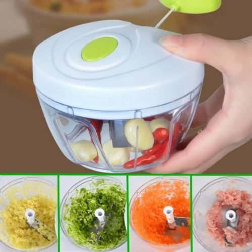 Hachoir, 3-Lame Inox blanc+vert Manuel Fruits Légume Viande Aliments Mélangeur Mixeur Batteur