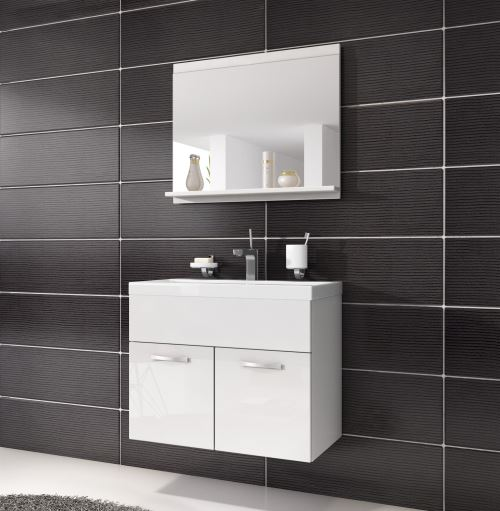 Meuble de salle de bain de Montréal 02 - Armoire de rangement Meuble lavabo évier Meuble lavabo Blanc brilliant 60x35 cm