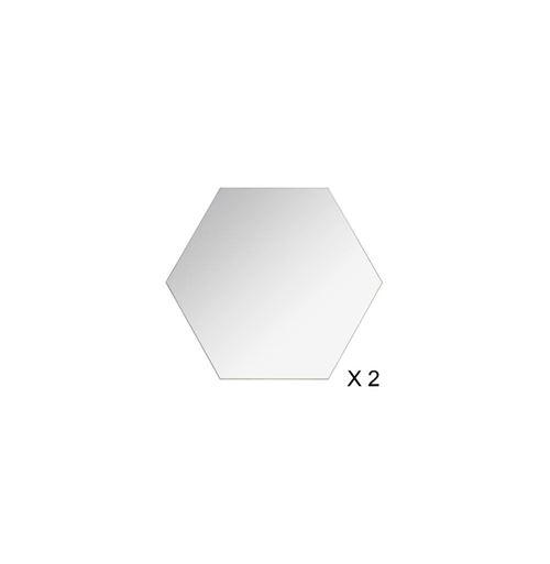 Lot de 2 Miroirs Adhésifs Hexagone 40x40cm Argent