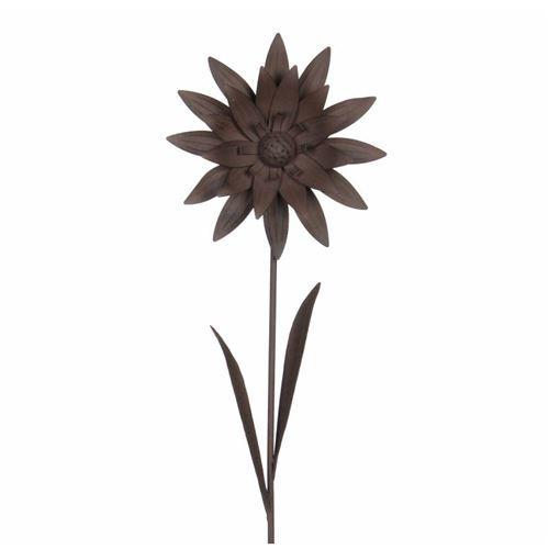 L'Héritier Du Temps - Décoration de jardin florale fleur sur tige à piquer dans jardin massif pot de fleur en métal marron 9x28x103cm