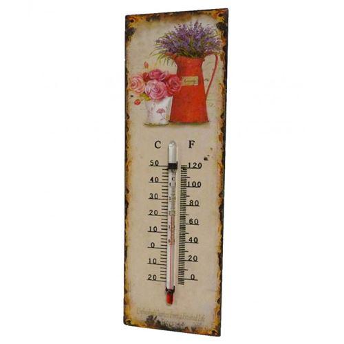 L'Héritier Du Temps - Thermomètre mural ou à poser décoratif en celsius et farenheit motif 'floral ancien' en fer et papier vernis 0,5x8x25cm