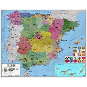 5 Sur Mini Affiche Carte De L Espagne Poster Affiche Enroule Top Prix Fnac