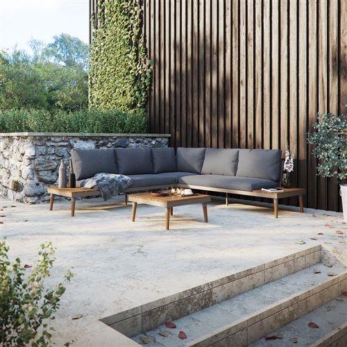 Canapé d'angle de jardin avec table - BEARCHAN - gris - style scandinave