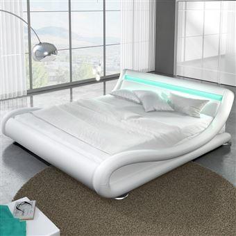 Lit Design LED Julia X Blanc Achat Prix Fnac - Lit design a led