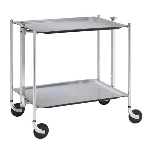 Table roulante pliable - 2 plateaux - gris