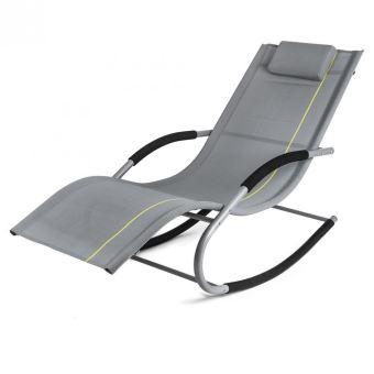 74€90 sur Transat à bascule jawa rock fauteuil piscine jardin gris ...