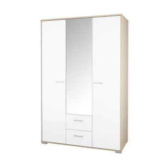 HOMELINE Armoire de chambre - Contemporain - Chene massif naturel et blanc  laqué - L 134,45 cm