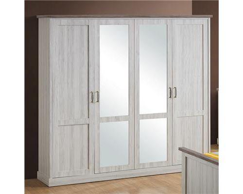 Armoire 4 portes couleur chêne clair et marron ELAURA - L 225 x P 58 x H 214 cm