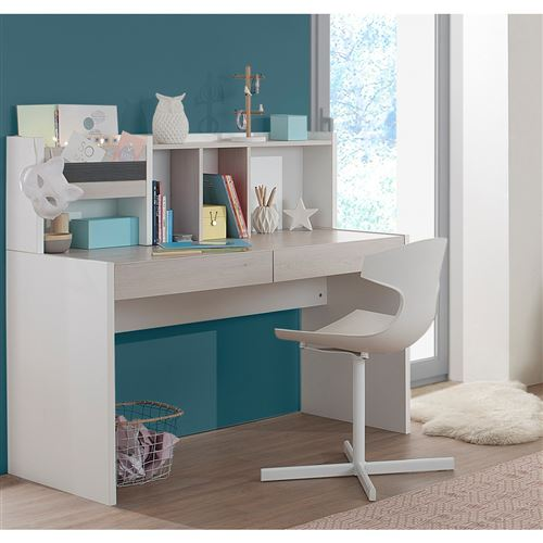Bureau enfant blanc et effet pin blanchi BC5007