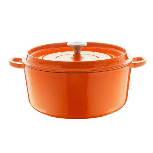 BERNDES 034247 Plat à rôtir en Fonte poêle en Fonte avec Couvercle, 28 cm, Orange