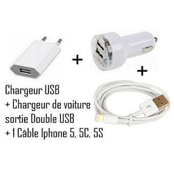 iPhone 5 Mini Chargeur secteur voyage 220V + Mini Chargeur Auto double USB + câble USB blanc pour iPhone 5, iPod touch 5e génération, iPod nano 7e