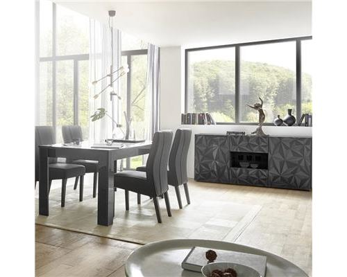 Salle à manger design buffet 2 portes 2 tiroirs + table gris laqué PAOLO 3 - L 180 x P 90 x H 79 cm