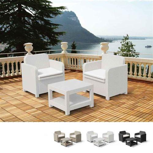 Salon Pour Extérieur Jardin Fauteuils Grand Soleil GIGLIO Bar Poly-Rotin 2 Places, Couleur: Blanc