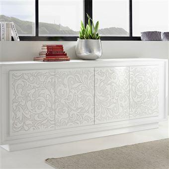 Buffet blanc laqué mat sérigraphié fleurs ERINE 4 - L 207 x P 50 x H 80 cm