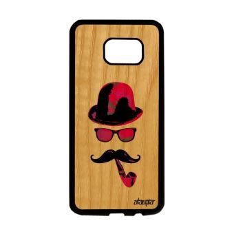 Coque Bois Silicone Pour S7 Edge Monsieur Moustache Peinture Rose