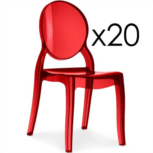 Lot de 20 chaises médaillon Diva Plexi Transparent Rouge