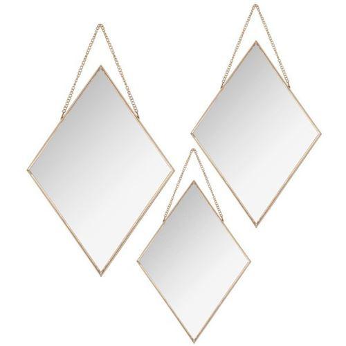 Lot de 3 Miroirs à Chaîne Losange 38cm Or